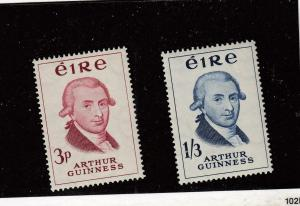 IRELAND (MK1383) # 171-172 VF-1MNH/1LH  ARTHUR GUINESS/RED-VIOLET & BLUE CAT $23