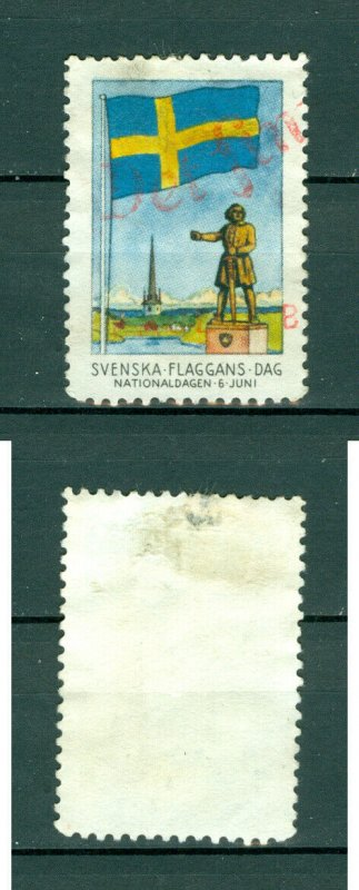 Sweden Poster Stamp Red Cancel.1945. National Day June 6. Swedish Flag.