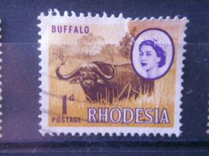 RHODESIA, 1966, used 1p, Scott 223, Cape Buffalo