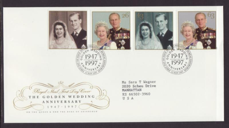Great Britain 1781-1784 Golden Wedding 1997 Typed FDC
