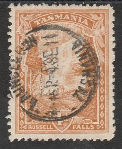 TASMANIA 1905 RUSSELL FALLS 4D WMK CROWN/A SIDEWAYS PERF 11 USED