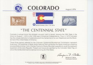 1976 Colorado - The Centennial State  Souvenir Card (Scott SC50)