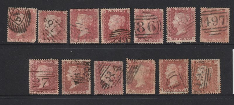 Great Britain a mix of QV 1d reds no plate No's all perf 14 & large crown Wmk