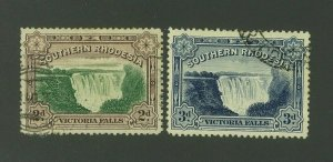 Southern Rhodesia 1932 Victoria Falls, Scott 31-32 used, Value = $5.00