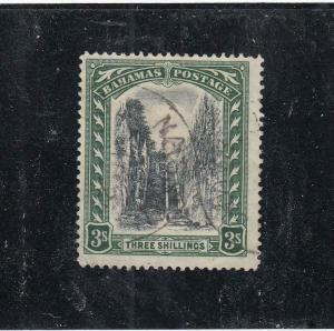 BAHAMAS # 82  VF-USED 3sh 1924 /QUEEN'S STAIRCASE /GRN & BLK CAT VALUE $85