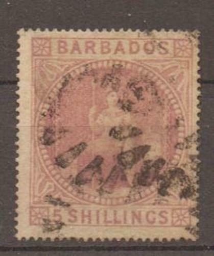 BARBADOS SG64 1873 5/= DULL ROSE USED