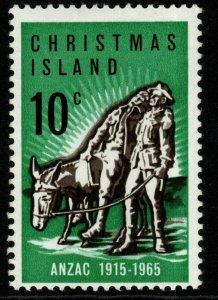 CHRISTMAS ISLAND SG21a 1965 50th ANNIV OF GALLIPOLI LANDING BLACK-BROWN MTD MINT