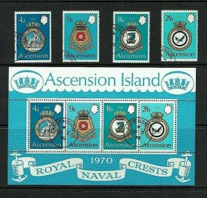 Ascension Island: 1970 Naval Crests (2nd series) Fine used set and M/s