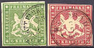 Wuerttemberg  #16 VF and #17 F-VF