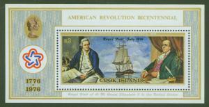 Cook Islands Scott 447 American Bicentennial sheet ** CV $14