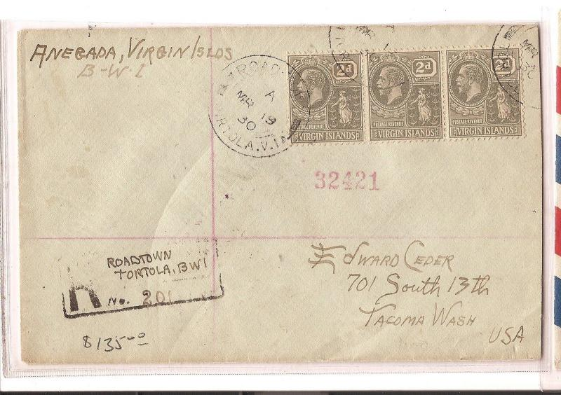 British Virgin Islands 1930 Roadtown registered cover to USA (bao)