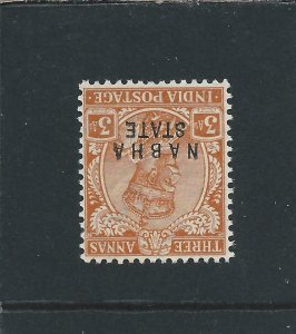 NABHA 1913-23 3a ORANGE WATERMARK INVERTED LMM SG 53w CAT £225