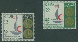 British Sudan SC# 162-3 Red Cross Centary Red Crescent  set MH