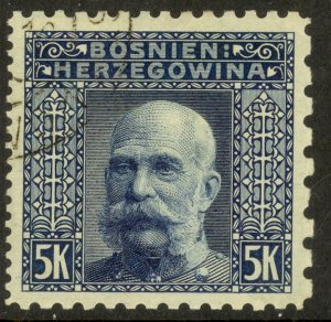 BOSNIA AND HERZEGOVINA 1906 5K FRANZ JOSEPH P.9.25x6.5x9.25x12.5  Sc 45d VFU
