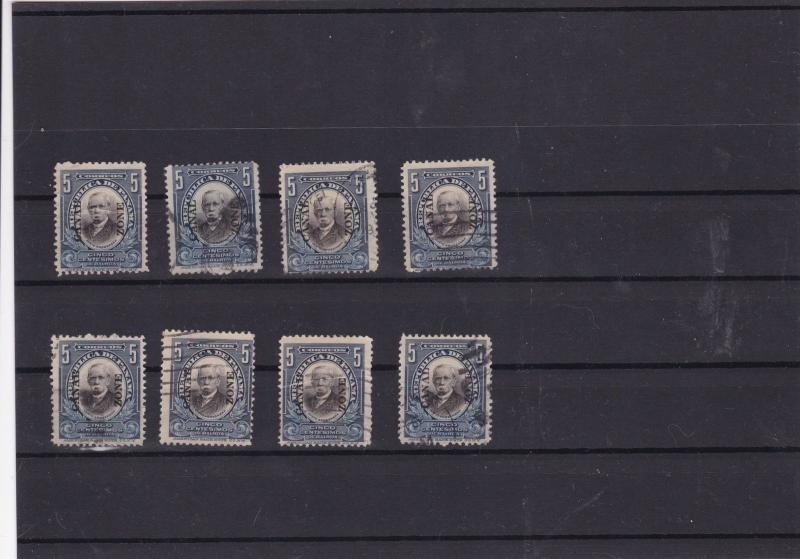 canal zone 1906-07  overprint stamps  ref 10803