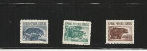 ALBANIA 1961 ANIMALS SCOTT 589-91 MNH SCV $27