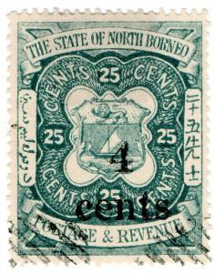 (I.B) British North Borneo Postal : 4c on 25c OP (State)