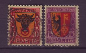J14267 JLstamps 1918 swiss set used semi #b10-11 designs $36.00 scv