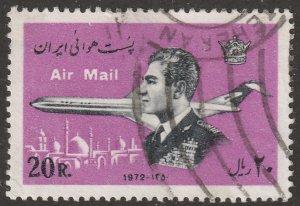 Persian stamp, Scott# C-95 used hinged, Air mail/post stamp, plane, #F-28