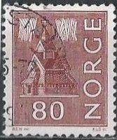 Norway 609 (used) 80ø stave church, red brown (1972)