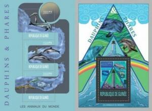 Guinea 2013 dolphins marine life mammals klb+s/s MNH