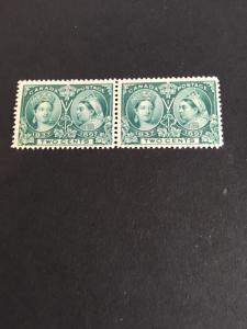 Canada Scott #52 Mint Pair Fresh & F-NH  Cat. US$185. 1897 2 Jubilee Pair