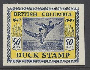Canada BCD2 British Columbia Duck Stamp MNH 1947 50 Cent