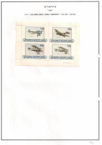 SCOTLAND - STAFFA - 1981 -Early Aircraft #1 - Perf 4v Sheet - M L H