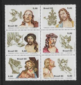 Brazil MNH Block 1726 Christ With Angels 1980