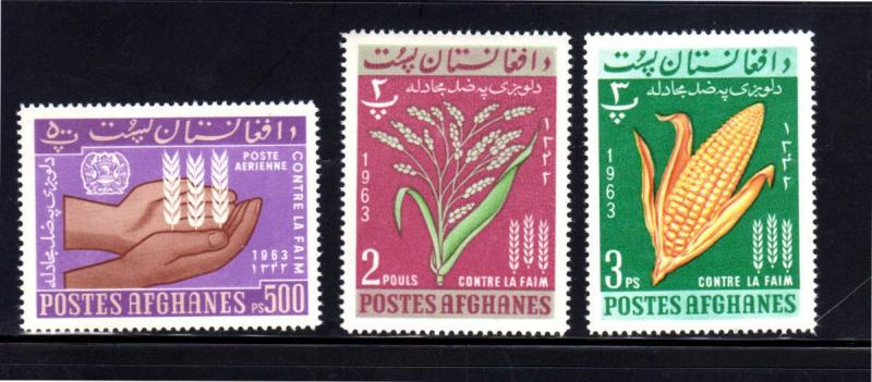 AFGHANISTAN #642-644  1963  FREEDOM FROM  HUNGER   MINT  VF NH  O.G
