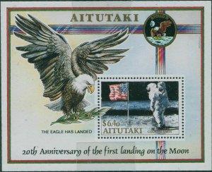 Aitutaki 1989 SG605 Moon Landing MS MNH