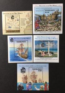 Bahamas 1988 #Set of 5 S/S, MNH, CV $45
