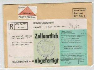 Norway Registered Zollamt Bird Slogan Cancel Stamp Cover to Tyskland Ref 25700