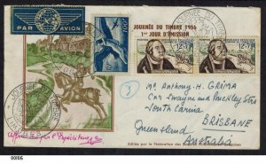France 1956 Tassis First Day Cover Airmail Limoges to Queensland Australia