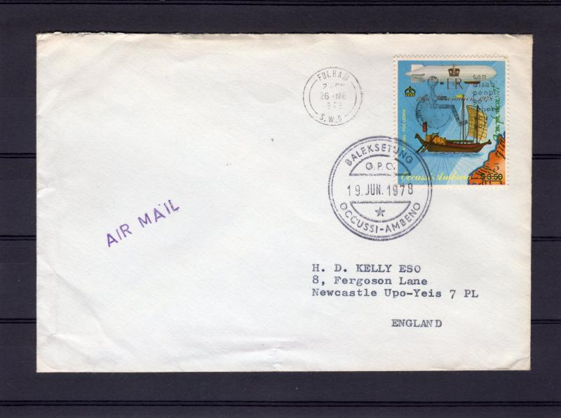 Timor (Ocussi-Ambeno) 1978 Coronation $5 Perforated Cover travel to UK