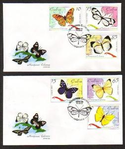 Caribbean Area, Scott cat. 3645-3650. Butterflies issue. 2 First Day Covers. *