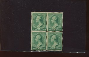 Scott 213 Washington Mint Block of 4 Stamps NH (Stock 213-1)