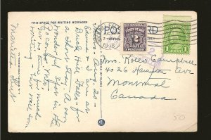Canada J16 Postage Due Used on Postmarked 1936 Buckhill Falls USA Postcard