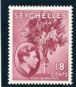 Seychelles 1941 KGVI 18c carmine-lake (CH) MLH. SG 139c. Sc 134.