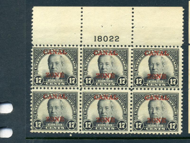 Canal Zone 91 Woodrow Wilson Overprint Stamp Plate Block NH (Stock #CZ91-11)