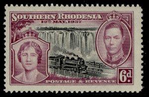 SOUTHERN RHODESIA GVI SG39, 6d black & purple, NH MINT.