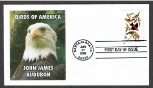 US # 3650 Tanager Birds by Audubon - Lakestamps Silk Cachet FDC - I Combine S/H