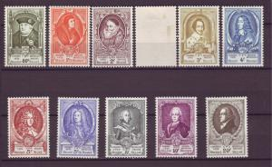 J21330 Jlstamps 1952 belgium set mh/mhr #435-45,1 showned w/small thin $124.00+V