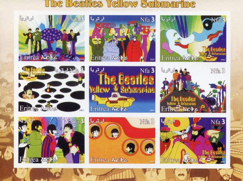 Eritrea 2003 MNH The Beatles Yellow Submarine 9v IMPF M/S II Music Stamps