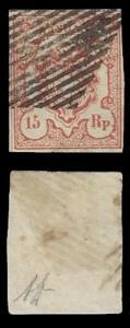 Austria Zum#18 (Scotts #11) 15rp Used and Nice - CV$700.00 PLATED POS #1