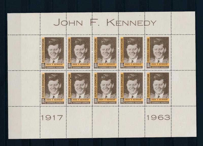 [36927] Dominican Republic 1964 Kennedy Sheet of 10 MNH