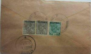 Burma 1937 Cover  Kyauktan Postmark Postal History
