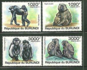 Burundi MNH 827-30 Monkeys Primates 2011 SCV 13.50