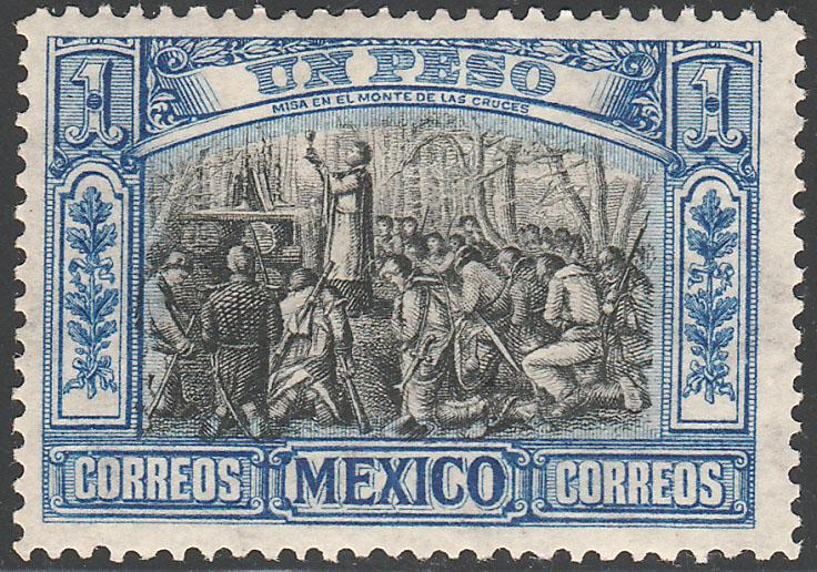 MEXICO 319, $1P INDEPENDENCE CENTENNIAL 1910 COMMEM UNUSED, HINGED OG.