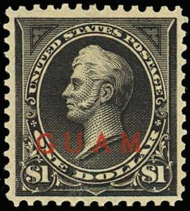GUAM 12, Mint XF NH App Reperfed at top Cat $700.00